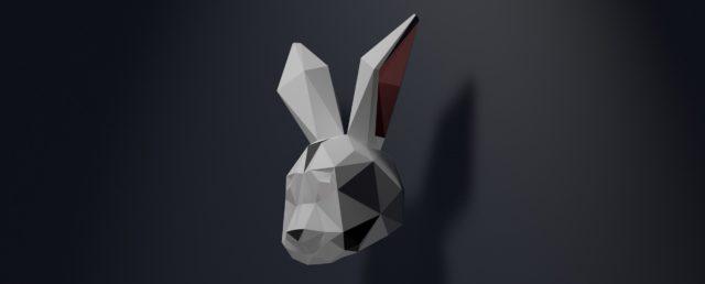 Dekorativ und eindrucksvoll. Das wilde Tier für deinen Kopf zum downloaden. Die LowPoly Hasenmaske zum selbst ausdrucken